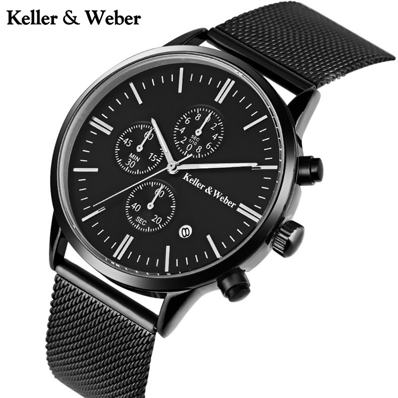 Keller & Weber Quartz Chronograph Watch Men Stainless Steel Mesh Band Strap Date Display Wrist Watch Brief relogio masculino keller
