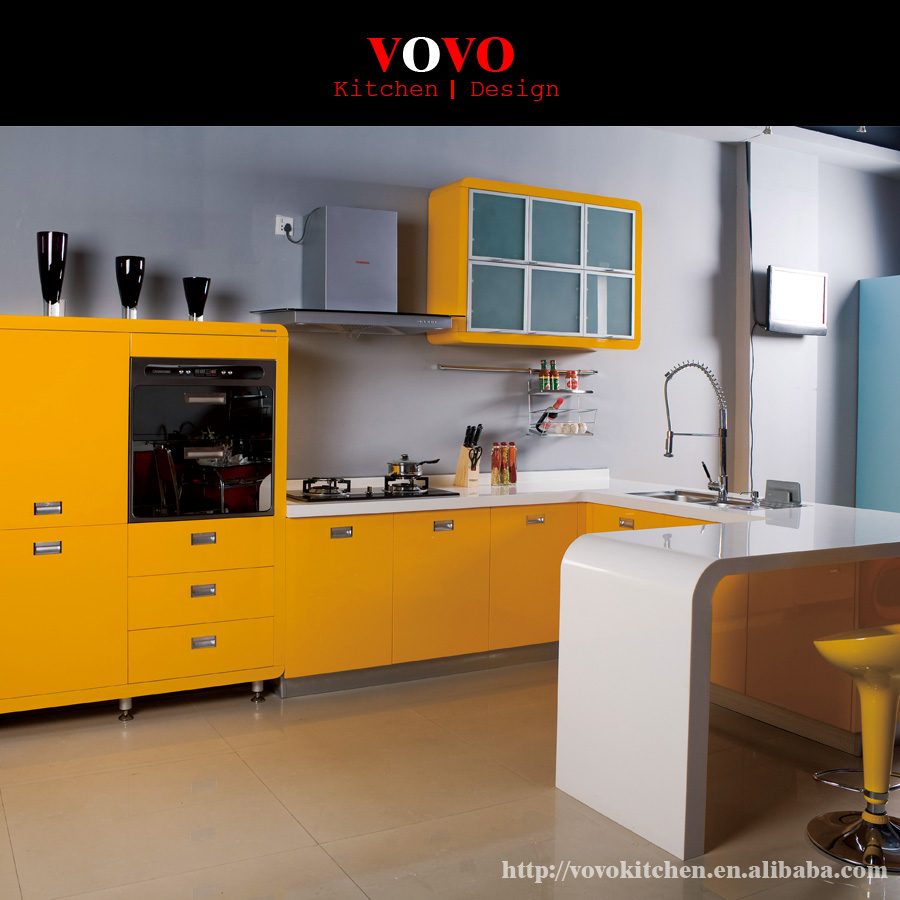 Best quality kitchen cabinets - High Quality Yellow Lacquer Kitchen Cabinets