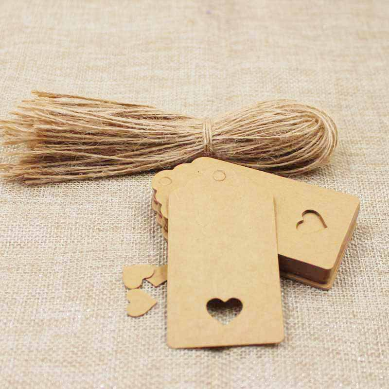 8*4cm kraft /white/black Wedding NoteTags Scallop Head Label Luggage DIY Blank price Hang Tag with heart cut tag100pcs+100string