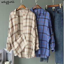 WHOHOLL Wide Shoulder Plaid Women Blouses Autumn Linen Big Chest Shirts Loose Top Blusas Lantern Sleeve Clothing