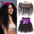 Malaysian Virgin Hair with Closure 4Pcs 13*4 Lace Frontal Closure With Bundles Kinky Curly Virgin Hair With Closure, Human Hair
