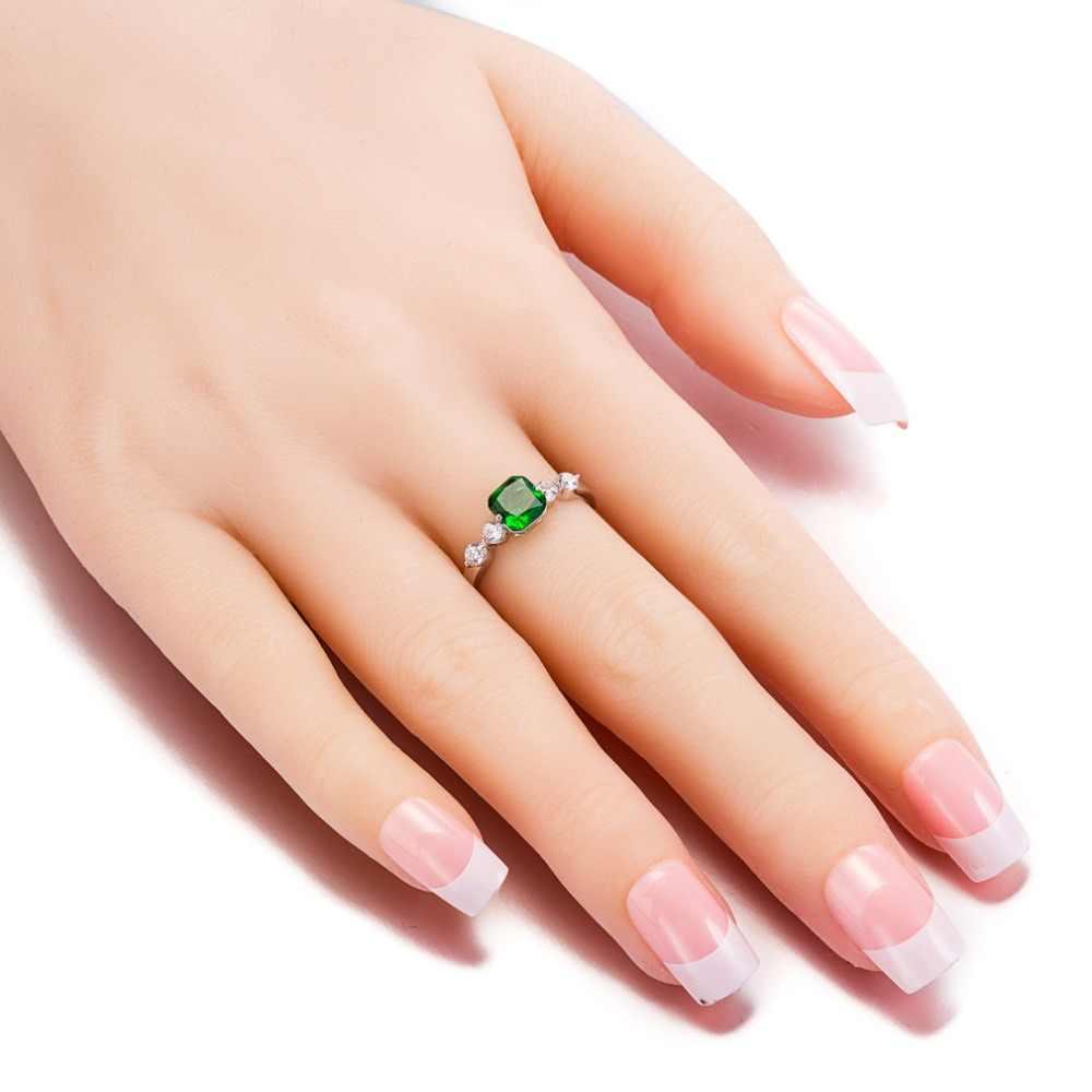 Mode grand carré vert pierre design anneaux pour femmes bijoux de mariage fiançailles cadeau luxe incrusté pierre anneaux en gros