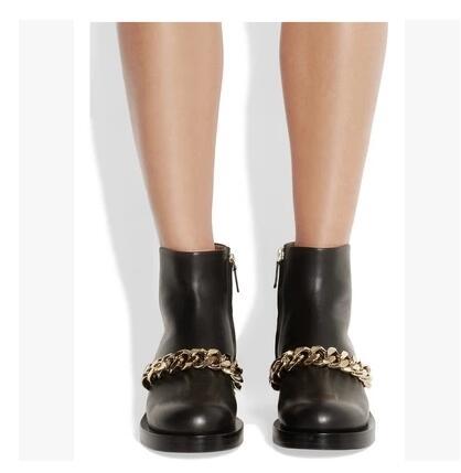 Botas Mujer haute qualité chaîne en métal doré bottine talon épais noir marron blanc cuir gladiateur sandales bottes livraison gratuite - 4
