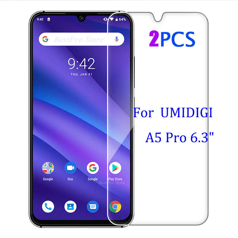 2-1 PCS Termpered Glass For UMIDIGI A5 Pro Screen Protector Cover Explosion-proof Mobile A5 Film Case For UMIDIGI A5 Pro 6.3""