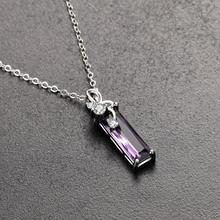 TJP Top Quality Silver 925 Women Clavicle Necklace Jewelry Vintage Cubic Zirconia Purple Rectangle Pendant Girls Bijou