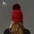 Mosnow 2016 Acrílico Algodão Raposa Pompons De Pele de Guaxinim Inverno chapéus Para Mulheres Moda Quente de Malha Grossa Chapéu Feminino Skullies gorros