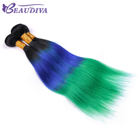 BEAU DIVA TB/BLUE/GREEN Color 100% Human Hair straight hair bundles Remy Hair Weave Bundles 16 to 26 inch Free Shipping