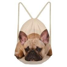 ThiKin French Bulldog Drawstring Bags Student School Bag Lightweight Drawstring Backpack Custom Women Men Travel Bag