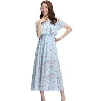 Neue frauen Sommer Sexy Ausschnitt Cold Shoulder Chiffon Casual Shift kleid Gute Qualität Süße Nette Maxi Langes Kleid für Mädchen XH382