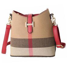 Fashion Leather Women Handbags Designer Plaid Women's Shoulder Bags Casual Canvas Totes Vintage Bucket Bag Bolsas Sac RL62