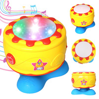 360 Rotating Musical Toys Music Drum for Kids Musical Roll Hand Drum Toy Great Baby Gift Colorful Lights(1006)