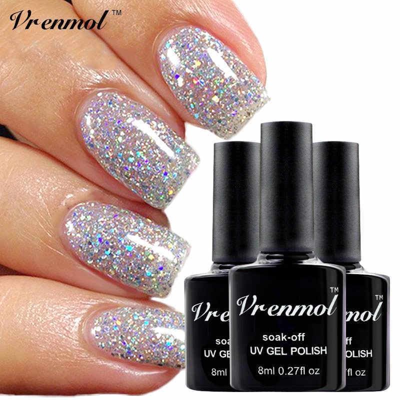 Vrenmol 1 قطعة 8 مللي هلام الورنيش الماس بريق هلام البولندية نقع قبالة لامعة هلام Lak بريق UV LED هلام الغراء الأظافر تصميم