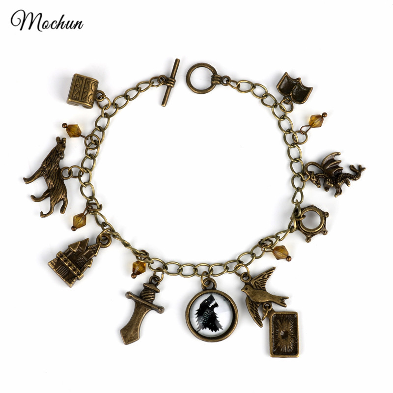 MQCHUN Game of Thrones Vintage Bronze Metal Charm Bracelet A Song of Ice and Fire Link C ...