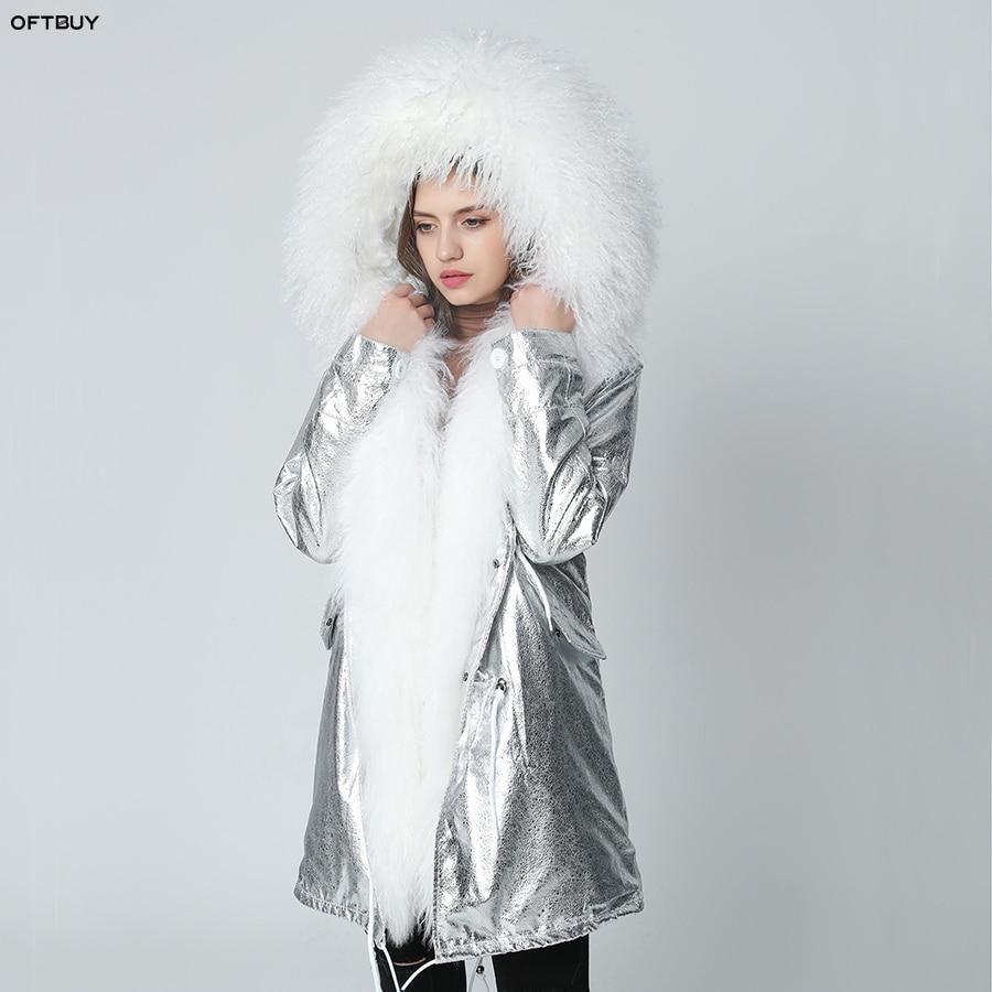 OFTBUY 2019 Winter Jacket Women Real Fur Coat Long Parka Natural Mongolia Sheep Fur Collar Hood Thick Warm Outerwear Streetwear