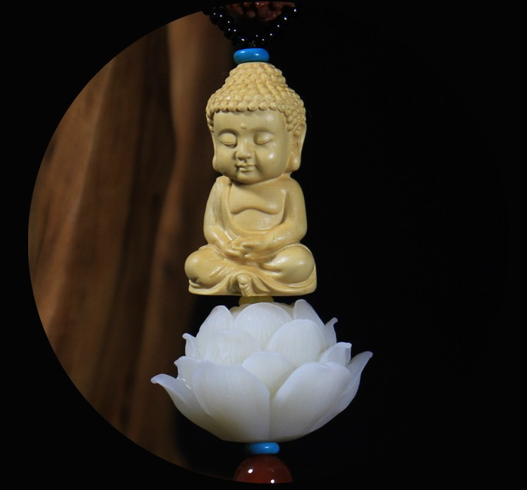 Car pendant creative lotus hanging car inside the boxwood Buddha high grade security car car rearview mirror ornaments in Ornaments from Automobiles Motorcycles
