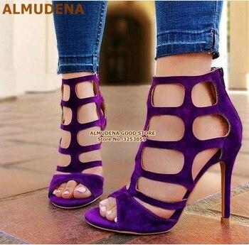 ALMUDENA Púrpura Suede Cut-out Cage Sandalias Stiletto Tacones Red Criss Cross Strappy Vestido Zapatos Nupcial Bombas Dropship Fiesta Zapatos