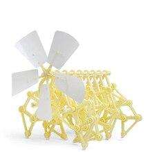 Theo jansen mini strandbeest modelo de energia eólica besta diy brinquedos educativos feitos à mão experimento ciência brinquedos criança presente aniversário