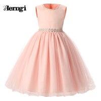 New Summer Pink Children Dresses For Girls Kids Formal Wear Princess Bridesmaid Dress For Baby Girl
