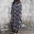 СПОКОЙНО 2016 Женщины Осень Зима Dress Винтаж Полосы Утолщение Большой Капюшоном Плюс Размер Длинные Пуловеры Dress Балахон S243