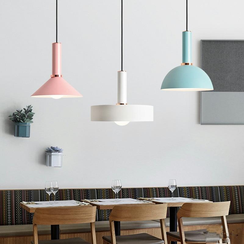 Nordic Creative Multicolor Restaurant Pendant Light Art Candy Color Macarons Hanging Lamp Designer Led Light With Led Bulbs цена
