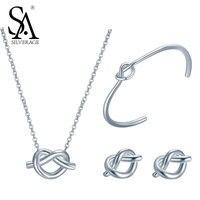 SA SILVERAGE настоящее сердце стерлингового серебра 925 Ювелирные наборы Серебро Цепочки и ожерелья сердце шпилька серьги и браслет набор для мам