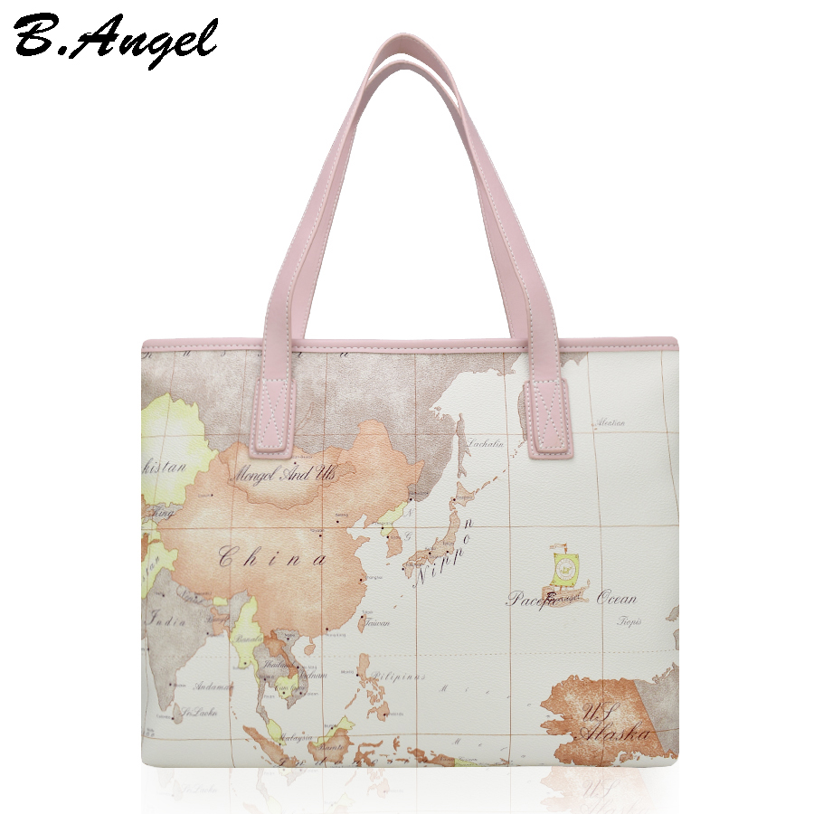 High quality fashion world map women big tote bag special handbag brand designer shoulder bag HC-W-878  цена и фото