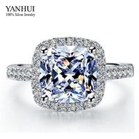 YANHUI Luxury 100 925 Sterling Silver Jewelry 3 Carat SONA Simulation Diamond Wedding Rings For Women