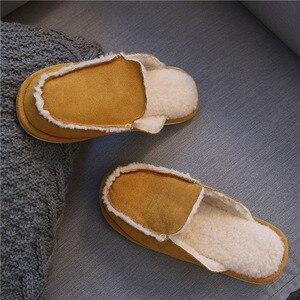 Image 2 - Vintage British Style para domowe kapcie mężczyźni kobiety Winter Warm sztuczny zamsz wampirzyca wełniana podszewka Solid Color Indoor Floor House Shoe