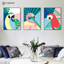 Nordic Canvas Painting Watercolor Flamingo Plant Prints And Posters On The Wall Home Living Room Decoration No Frames Pictures(China)