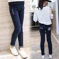 2017 весной и осенью мода классический детские джинсы девочек 4-11 год-старый вышивка лицо письма Тонкий детские брюки