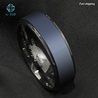 Black Tungsten Carbide Ring Sea Blue Brushed Center Wedding Ring Mens Jewelry Free Shipping