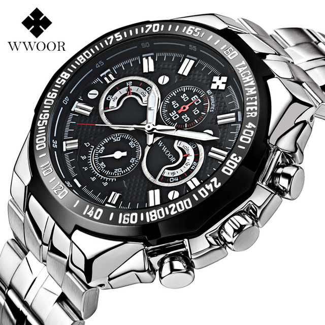 WWOOR 8013 men Watches Brand Luxury Men Military Wrist Watches Full Steel Men Sports quartz Watch Waterproof Relogio Masculino