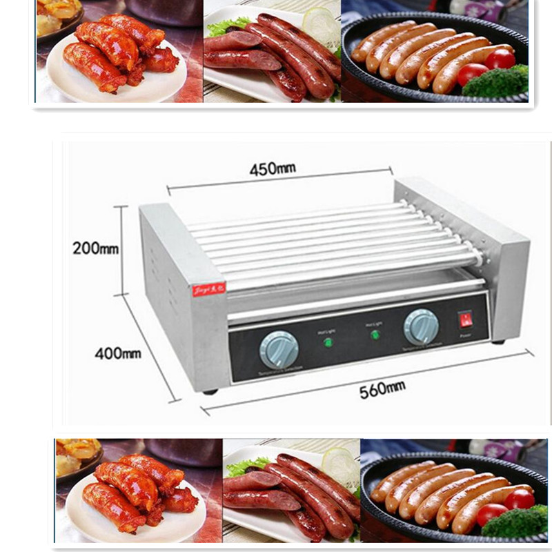 220V Stainless Steel Commercial Electric Sausage Hot Dog Machine Hot Dog 9 Rollar Grill Sausage Cooker Free Shipping cukyi household electric multi function cooker 220v stainless steel colorful stew cook steam machine 5 in 1