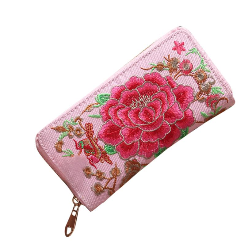 2018 PVC Women Wallet Embroidery Ethnic Style Wallet Fashion Zipper Coin Pocket Women Purse for Credit Cards carteras mujer