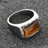 Hip Hop Punk Men Jewelry 316l Stainless Steel Classic Biker Vintage Ring Brown Men S Simulated