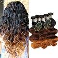 4 Pacotes Ombre Peruano Onda Do Corpo Do Cabelo Virgem Ombre Tecer Extensões de cabelo de Três Tom de Cor 1b/4/6 Cabelo Humano Trama Weave feixes