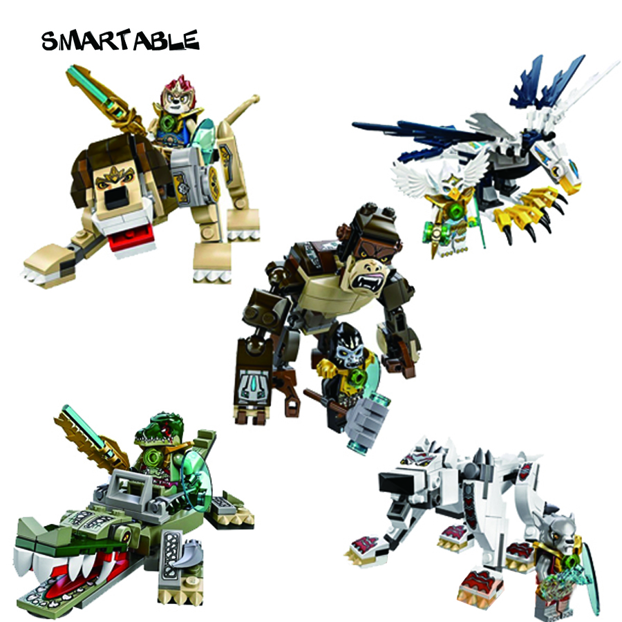 Smartable 5 boxes Chimaed wolf lion eagle Apes crocodile figure Building Block brick toys Compatible Legoed Chimaed Lepin LR-127 lepin 22001 pirate ship imperial warships model building block briks toys gift 1717pcs compatible legoed 10210