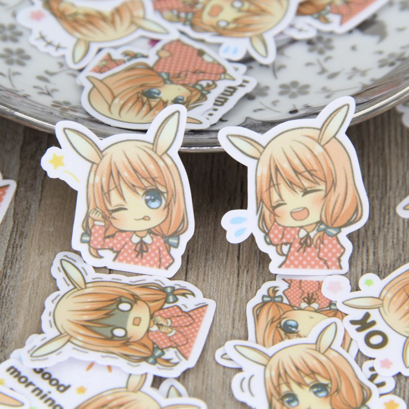 New Mix 40 Pcs Cute Rabbit Ears Girl Cartoon Homemade Stickers Iphone Emoticons Cute Sticker Notebook Fun Message Vinyl * Funny