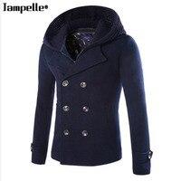 High Grade New Fashion Brand Clothing Jacket Men Wool Coat Double Breasted Pea Coats Men Long