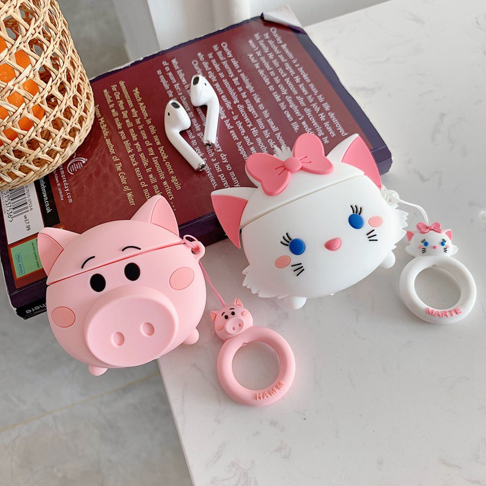 Earphone Cases For AirPods Case 3D Cute Cat Pig Cartoon For Apple Air Pods Protect Cover For Earpods Earbuds Case Ring Strap