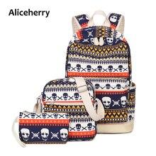 3 Шт./компл. женщины рюкзак холст печати череп школьные сумки для подростков девочек рюкзаки милый школьный молодежь бесплатная Back bag