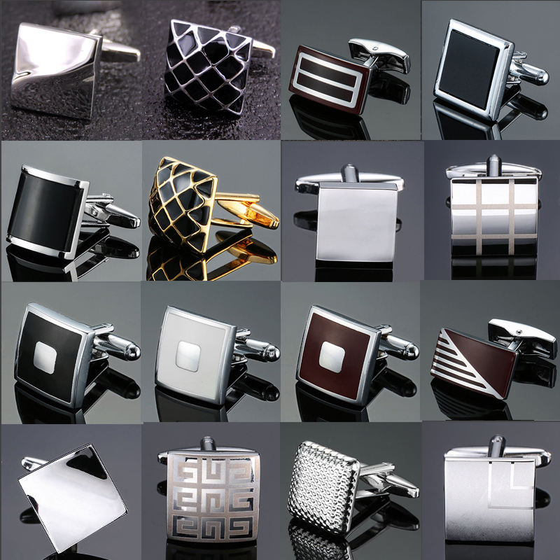 High Quality Enamel Copper Material Laser Metal Line, Lattice Cuff Fashion Men's French Shirts Cuffs Cufflinks Wholesale