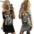 HAOYUAN Летняя Мода Sexy Tshirt Dress С Коротким Рукавом V Шеи цвет Лев Отпечатано Черный Мини Платья Женщины Повязки Клуб Dress 2017