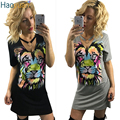 HAOYUAN Summer Fashion Sexy Tshirt Dress Short Sleeve V Neck Color Lion Printed Black Mini Dresses Women Bandage Club Dress 2017