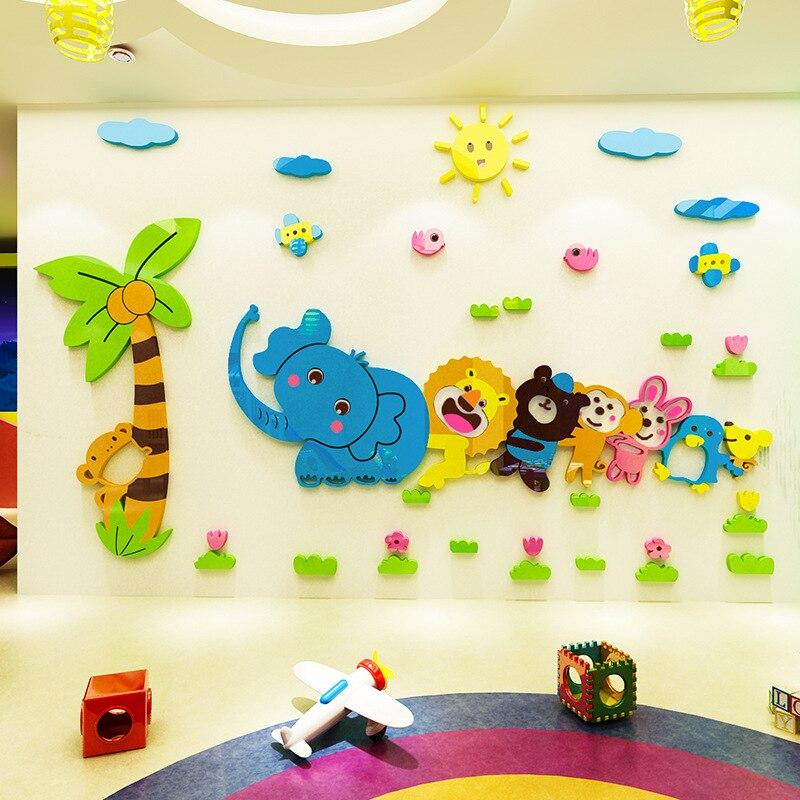 Creative INS mignon de bande dessinée animaux enfants chambre salon TV fond miroir mur de briques 3D acrylique wall sticker