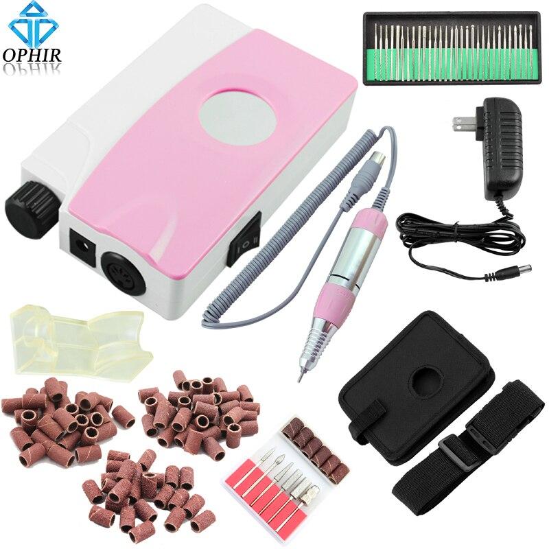 OPHIR 20 Вт Портативный Перезаряжаемый электрический сверлильный станок для ногтей Маникюрные наборы пилочка для ногтей сверла шлифовальная ...