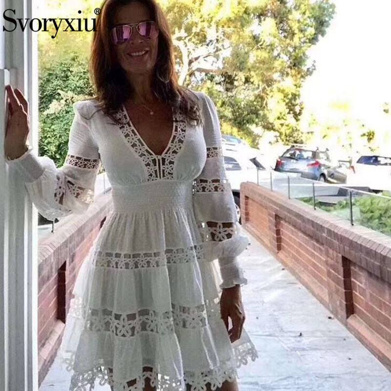 Svoeyxiu Sexy V Neck Hollow Out Embroidery White Dress Women s Elegant Long Sleeve Beach Style