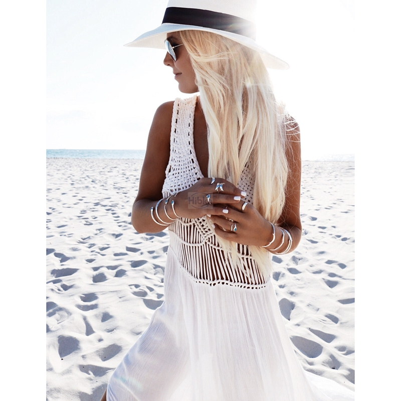 Crochet Chiffon patchwork beach dress tassels saida de praia crochet beach covers up fringe beachwear plait coverup 1