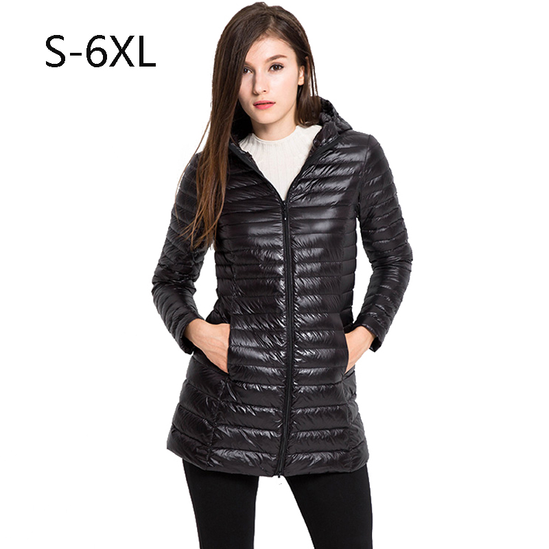 COUTUDI Woman Autumn Winter Hooded Long Coat 90% White Goose Down Coat Female lightweight Slim Down Jacket Coat Portable Parkas