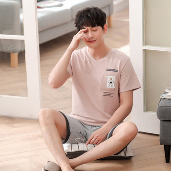 Men cotton summer new Korean comfortable breathable short sleeve shorts thin casual pajama sets pajama set mens pajama set фото